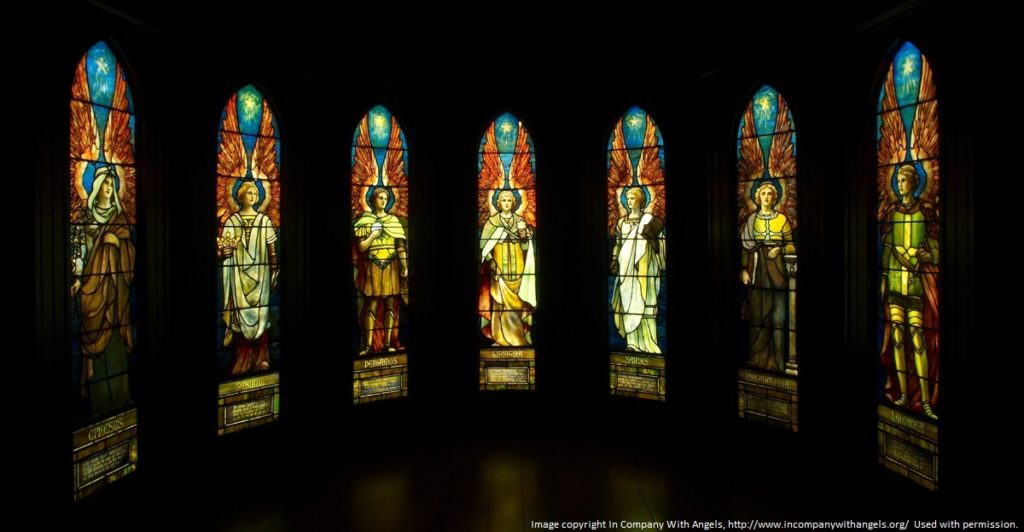 Seven stained-glass windows depicting angels