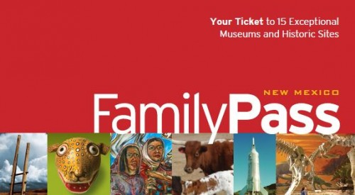 New Mexico Family Pass logo featuring images from the collections of New Mexico museums and historical sites