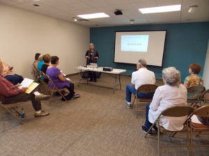 Henrietta Christmas gives a presentation about researching family histories on September 20, 2016.