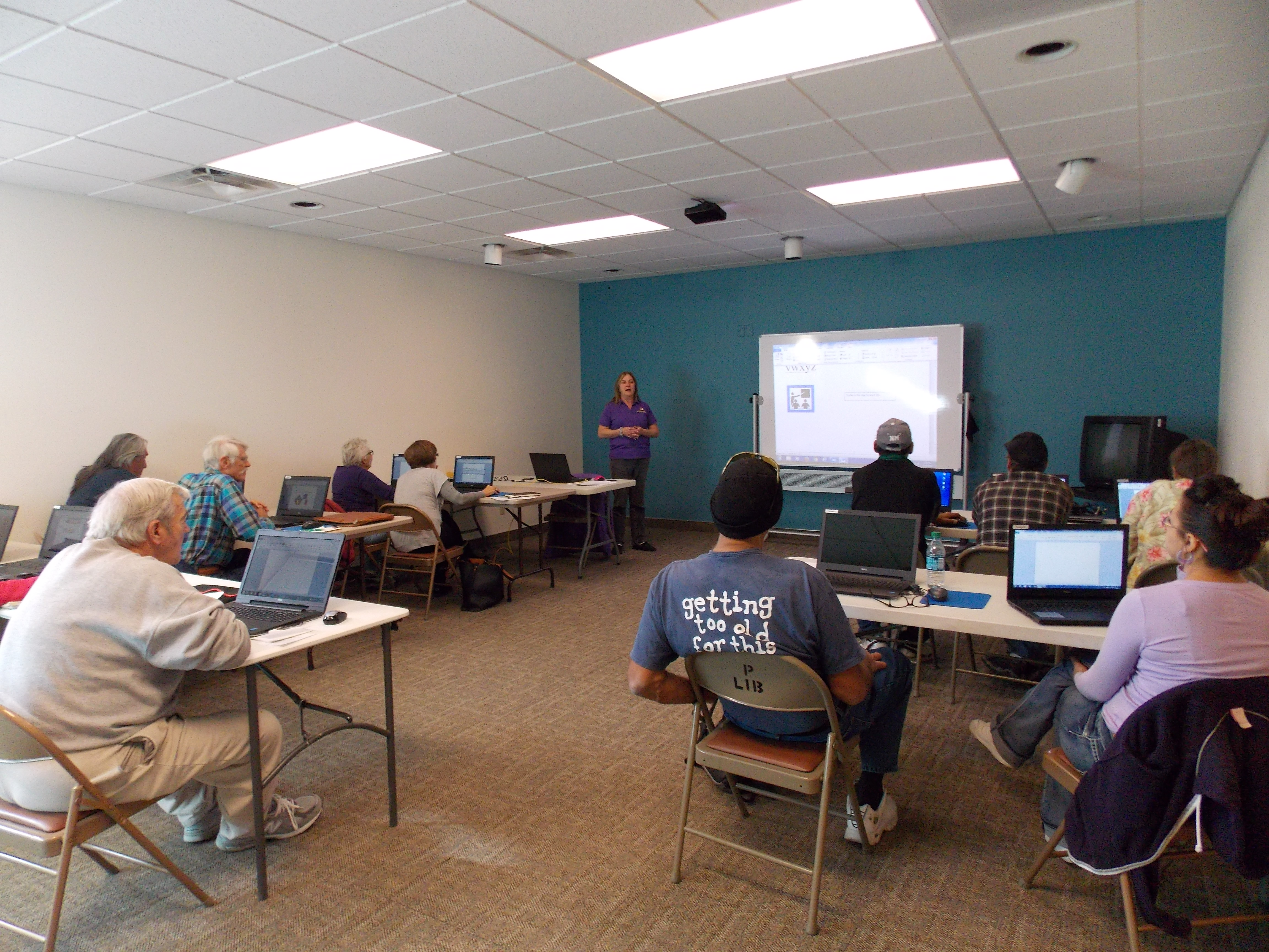 Technology workshop at the library led by Adult Education Services.