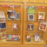 Book display for Hispanic Heritage Month in display case