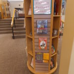 Book display for Hispanic Heritage Month in round kiosk