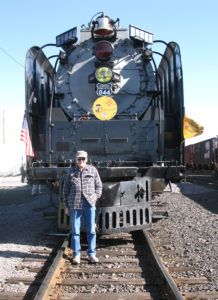 Donald Beem with a steam engine touring New Mexico in celebration of the state's centennial