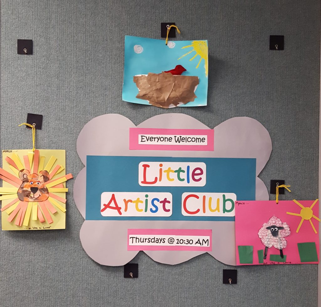 Little Artist Club display of March projects