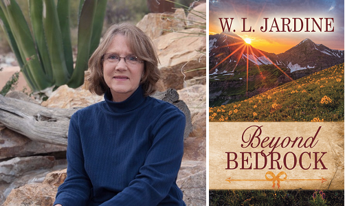 Photo of Ms. Jardine and image of the cover of the book Beyond Bedrock