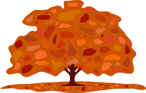 clip art illustration of a tree in autumn, leaves in shades of orange and brown