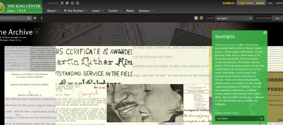 screenshot of a compilation of digital materials in the King Center's archive