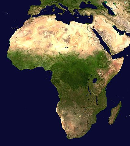 Satellite image of the continent of Africa